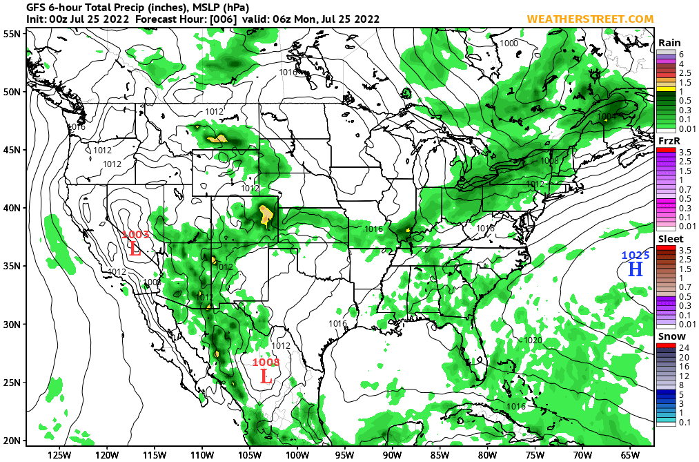 Surface Pressure And Precipitation Gfs 10 Day Forecast - Pressure-map-of-us